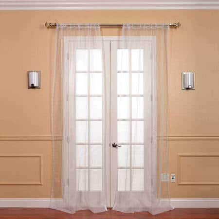 Pair (2 Panels) White Solid Faux Organza Sheer Curtain