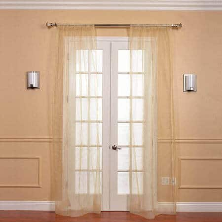 Gold Solid Faux Organza Sheer Curtain Pair (2 Panels)