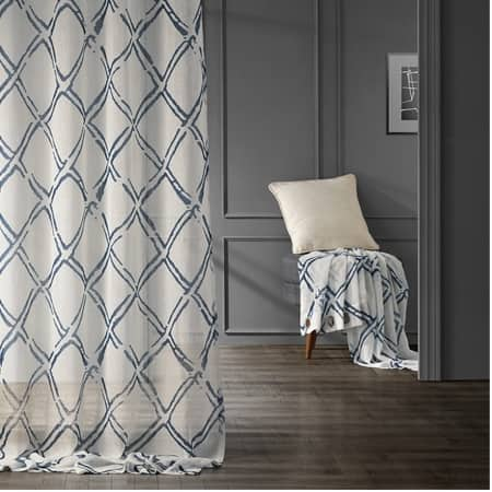 Normandy Blue Grommet Printed Sheer Curtain