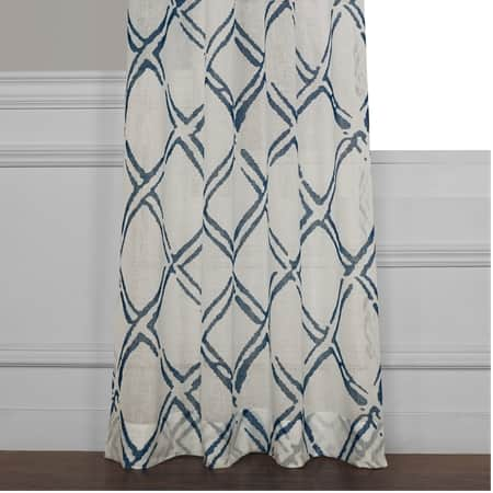 Normandy Blue Printed Sheer Curtain