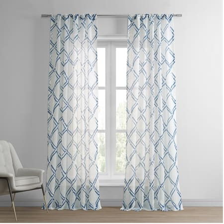 Normandy Blue Printed Faux Linen Sheer Curtain