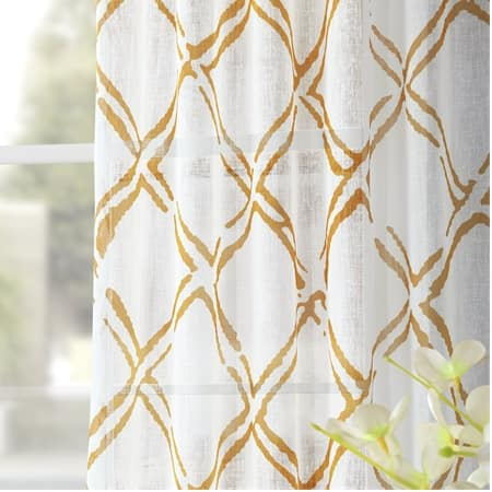Normandy Gold Printed Sheer Curtain