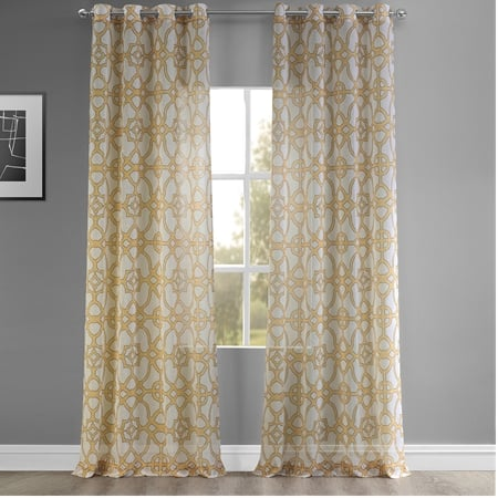 SeaGlass Yellow Grommet Printed Faux Linen Sheer Curtain