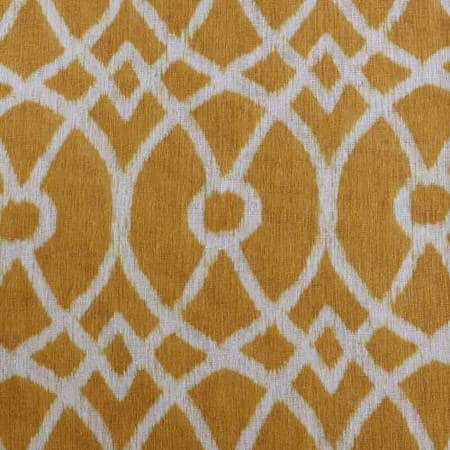 Tava Yellow Printed Faux Linen Sheer Swatch