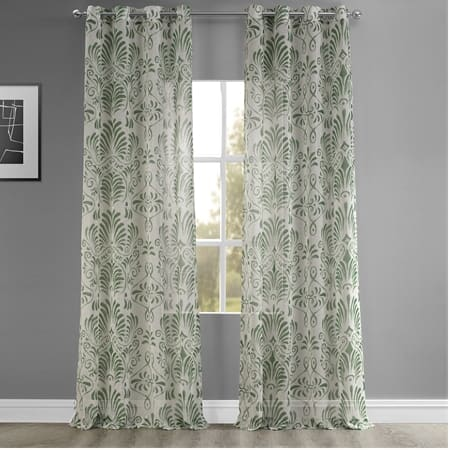 Xenia Green Grommet Printed Faux Linen Sheer Curtain