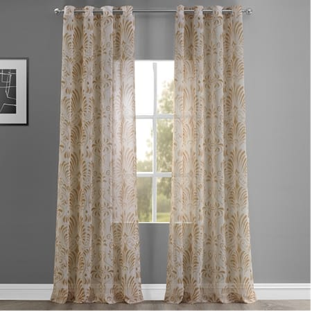 Xenia Tan Grommet Printed Faux Linen Sheer Curtain