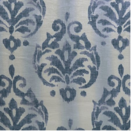 Fresco Blue Printed Faux Linen Sheer Swatch
