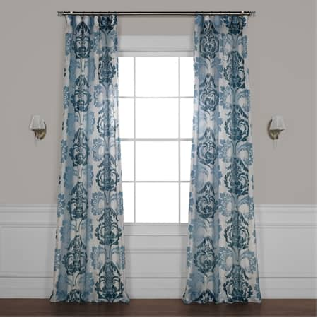 Damascus Teal Printed Sheer Curtain