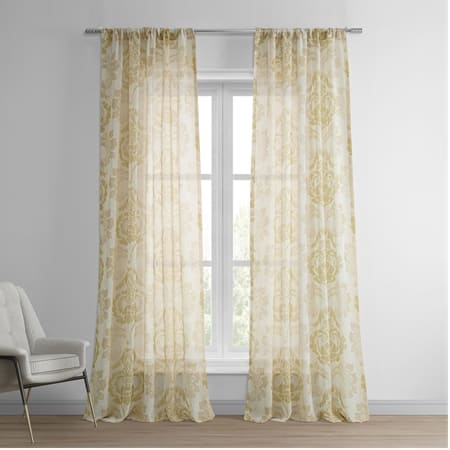 Damascus Tan Printed Faux Linen Sheer Curtain