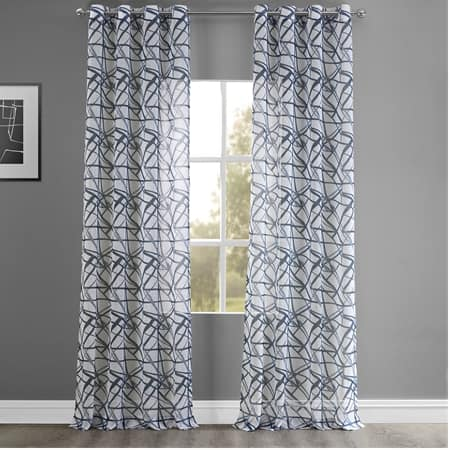 Matrix Blue Grommet Printed Faux Linen Sheer Curtain