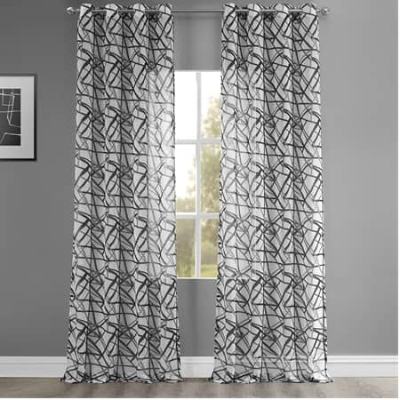 Matrix Black Grommet Printed Sheer Curtain