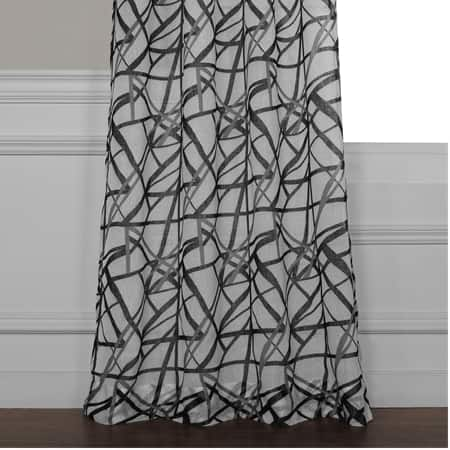 Matrix Black Printed Faux Linen Sheer Curtain