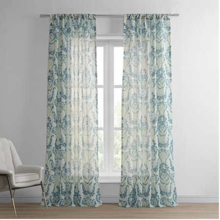 Terrace Teal Printed Faux Linen Sheer Curtain