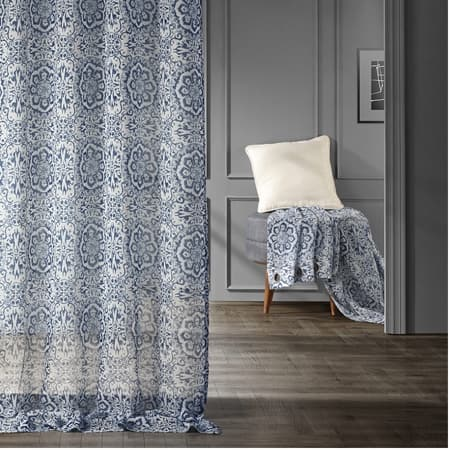 Mardi Gras Blue Grommet Printed Faux Linen Sheer Curtain