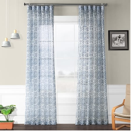 Mardi Gras Blue Printed Faux Linen Sheer Curtain