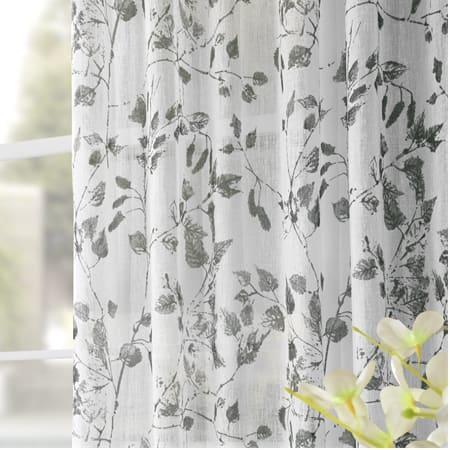 Woodland Grey Printed Faux Linen Sheer Curtain