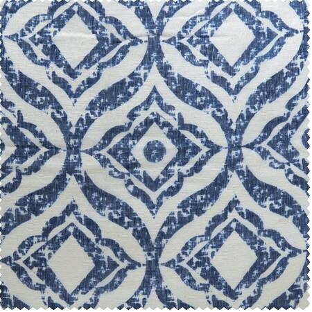 Plaza Blue Printed Faux Linen Sheer Swatch