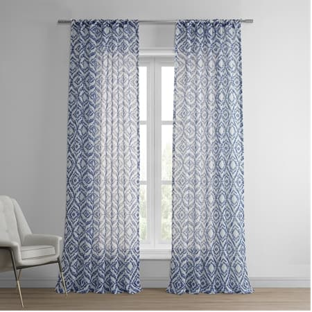 Plaza Blue Printed Sheer Curtain