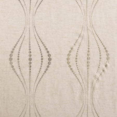 Suez Natural Embroidered Faux Linen Sheer Fabric
