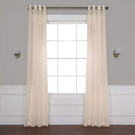 Cotton Seed Grommet Solid Faux Linen Sheer Curtain