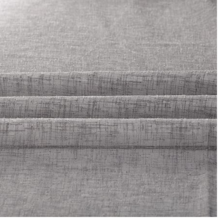 Gravel Grey Solid Faux Linen Sheer Fabric