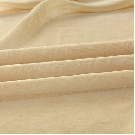 Golden Haze Solid Faux Linen Sheer Fabric