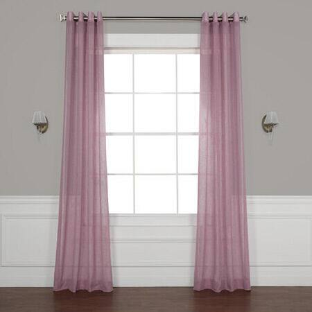 Blackberry Cream Grommet Solid Faux Linen Sheer Curtain