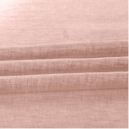 Bashful Pink Solid Faux Linen Sheer Fabric