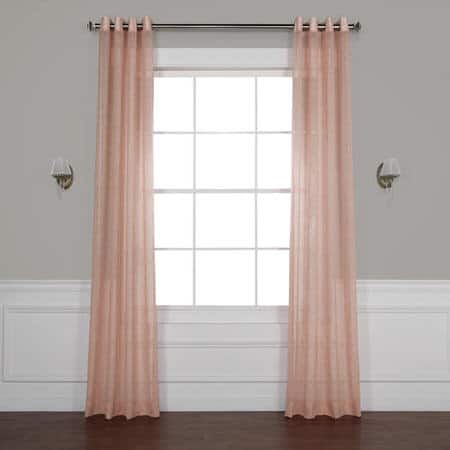 Bashful Pink Grommet Solid Faux Linen Sheer Curtain