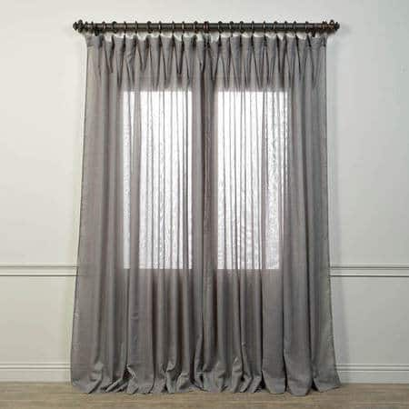 Extra Wide Grey Sheer Curtain