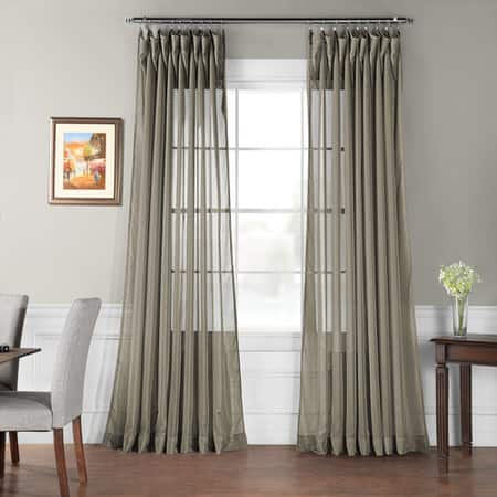 Extra Wide Museum Grey Sheer Curtain