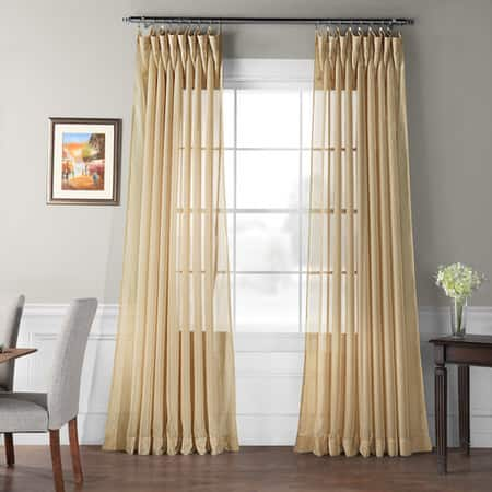 Extra Wide Double Layered Soft Tan Sheer Curtain