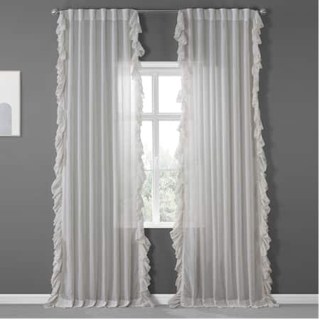 Gardenia Faux Linen Ruffle Sheer Curtain