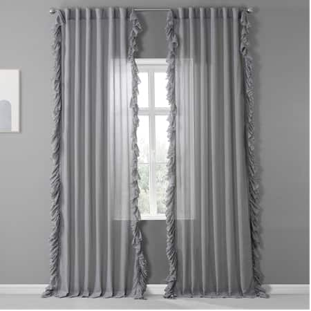 Nickel Faux Linen Ruffle Sheer Curtain