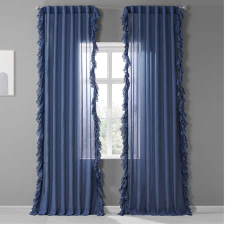 Blue Lapis Faux Linen Ruffle Sheer Curtain