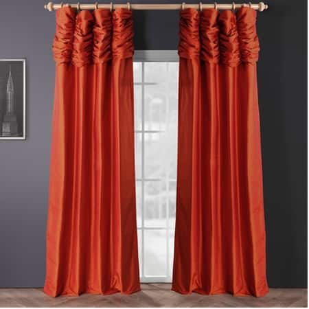 Ruched Rustic Orange Thai Silk Curtain
