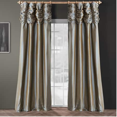 Ruched Sea Blue Thai Silk Curtain