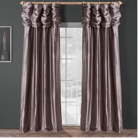 Ruched Spiced Plum Thai Silk Curtain