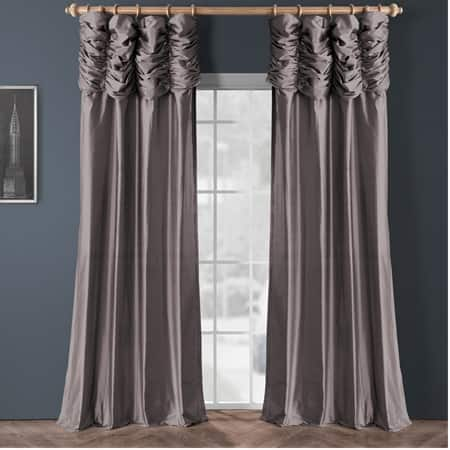 Ruched Silvery Moon Thai Silk Curtain