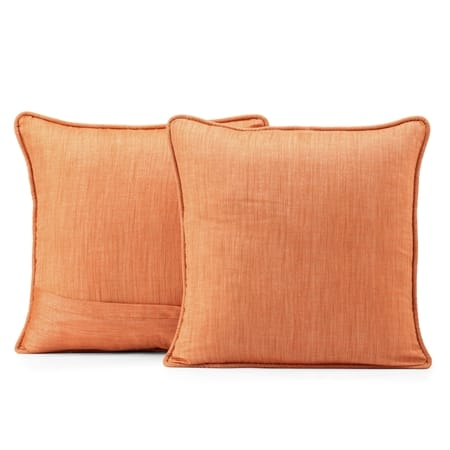 Monarch Orange Designer Shantung Faux Silk Cushion Cover - Pair