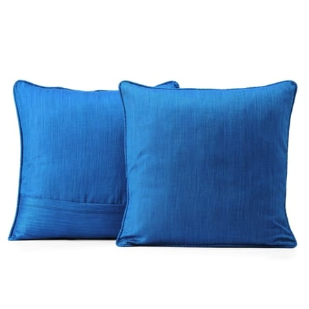 Azure Blue Designer Shantung Faux Silk Cushion Cover - Pair