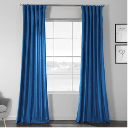 Azure Blue Designer Chambray Textured Curtains