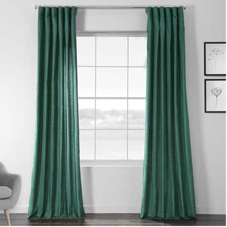 Meadow Green Faux Dupioni Shantung Silk Curtain