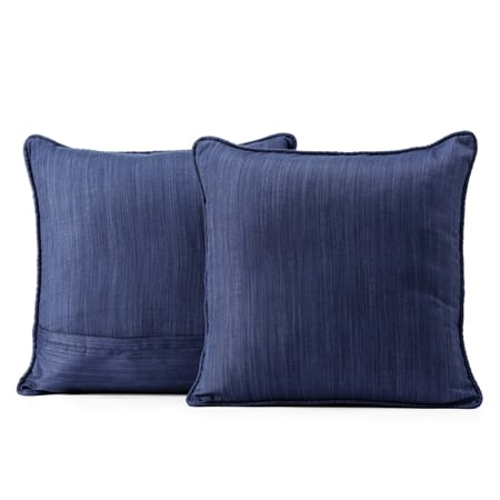 Prussian Blue Designer Shantung Faux Silk Cushion Cover - Pair