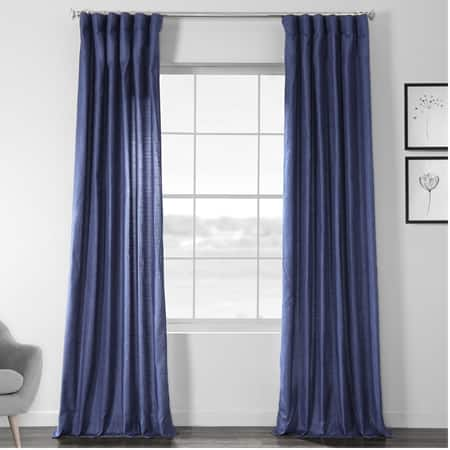 Swallow Tail Blue Faux Dupioni Shantung Silk Curtain