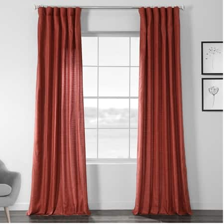Admiral Red Designer Chambray Textured Curtains