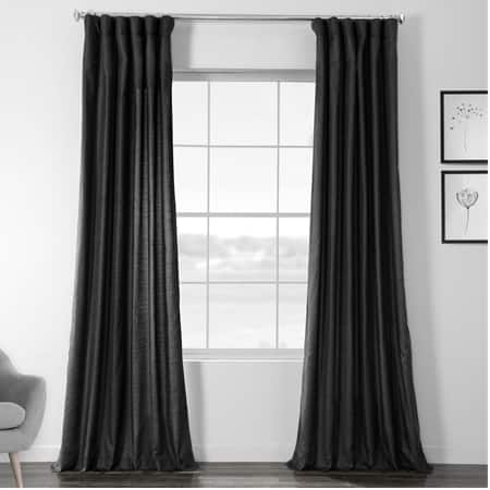 Papillon Black Faux Dupioni Shantung Silk Curtain
