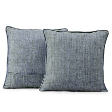 Turkish Blue Yarn Dyed Designer Faux Raw Textured Silk Cushion Cover - Pair