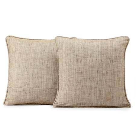 Linen Tan Yarn Dyed Designer Faux Raw Textured Silk Cushion Cover - Pair