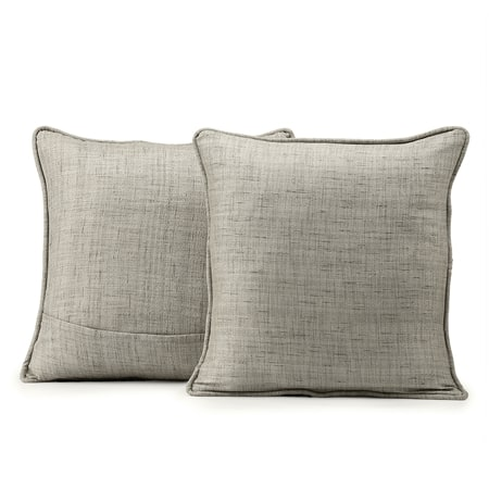 Sea Salt Grey Yarn Dyed Designer Faux Raw Textured Silk Cushion Cover - Pair